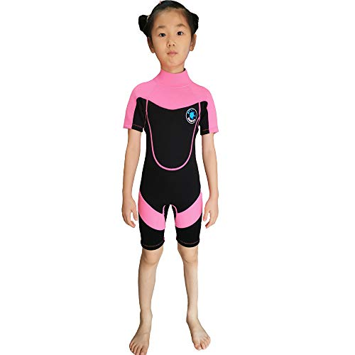 Realon Kids Wetsuit Girls Shorty Surfing Suit 2mm Children Swim Snorkeling Canoeing Wet Suits Youth (2mm Pink Shorty, XS)