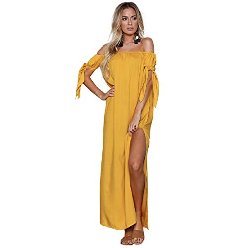 Bluelucon dames off-shoulder zomerjurk lange jurk casual strandjurken bandeau cocktail avondjurk side split maxi-jurk zomer bikinirok bikini cover up