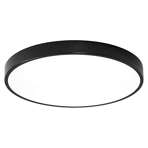 KAIKEA Moderne und einfache runde ultradünne eingebettete Deckenleuchte Dimmbare LED-Deckenleuchten für Schlafzimmer, Wohnzimmergang (schwarz weiß