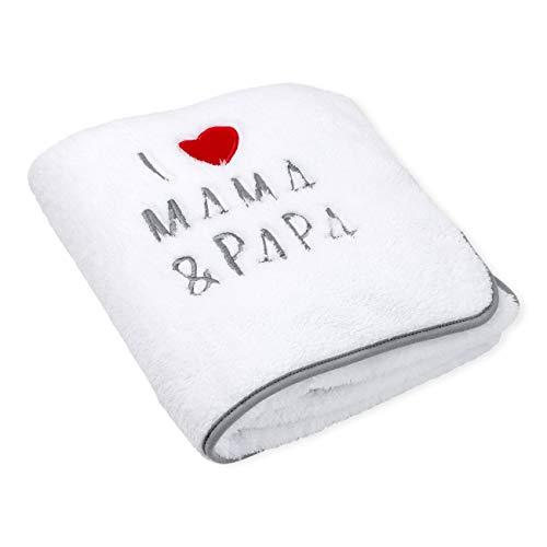 Baby Sweets Baby-Decke/Baby Kuscheldecke in weiß-grau für Neugeborene & Kleinkinder/Kinderwagen-Babydecke mit Mama-Papa-Motiv/Baby-Einschlagdecke für Jungen und Mädchen