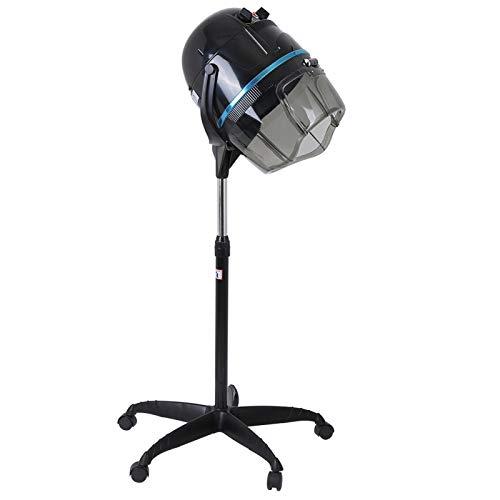 Campana secadora ajustable en altura, secador de pelo con trípode de pie, campana secadora de pie profesional con rueda de desplazamiento con función de temporización y control de temperatura, para pe