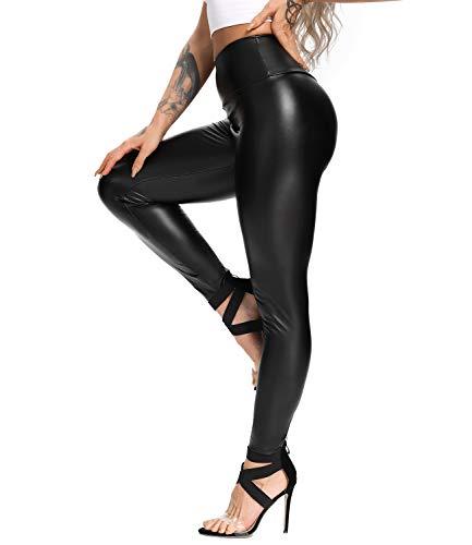 CROSS1946 Womens High Waist Faux Leather Leggings Skinny PU Elastic Shaping Hip Butt Lift Bodycon Pants Trousers #4 Thick Velvet-Black,XL