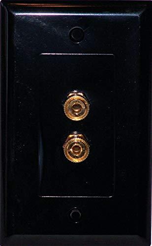 Black Speaker Wall Plate 2 Post for 1 Speaker - Media Room Series