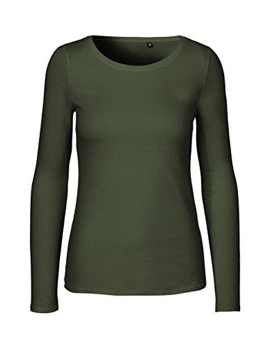 Green Cat- Damen Langarmshirt, 100% Bio-Baumwolle. Fairtrade, Oeko-Tex und Ecolabel Zertifiziert, Textilfarbe: Oliv, Gr. M