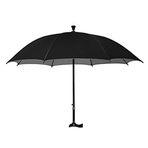 QINQIN vezel paraplu bot verstelbare kruk grip spiegel zilver lijm cane paraplu Oudere Cane paraplu (zwart)