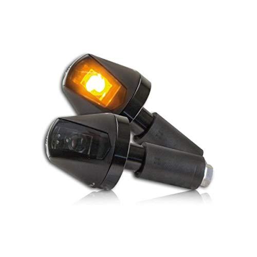 Lenkerenden - Hi-Power-LED Blinker Knight schwarz getönt E-geprüft Universal Motorrad Qaud Roller 1 Paar