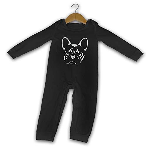 French Bulldog Baby Boys Girls Onesies Long Sleeve Novelty Infant Bodysuit Romper Outfits Black