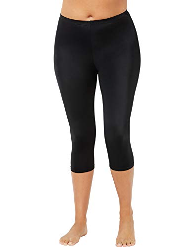Swimsuits For All Women's Plus Size Capri Lycra Swim Bottom 20 Black