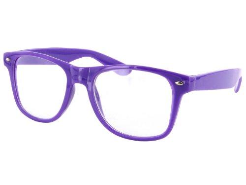 Alsino Nerd Brille ohne Stärke Karneval Rockabilly Fasching Nerdbrille Sonnenbrille Fake Schwarz Hornbrille für Kostüm Fakebrillen Accessoires Modebrille Vintage Lehrerin (lila)