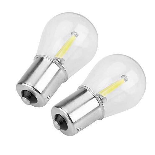 Akozon Coppia di 1156 LED COB strobo a LED per indicatori di direzione per luci di retromarcia Lampadina freno di coda(bianca)