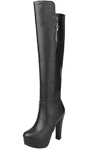 Rodilla Botas Altas Mujer Cuero de PU Casual Tacón Alto Otoño Invierno Cálidas Plataforma Botas largas De BIGTREE Negro 38 EU
