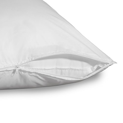 Allied Essentials Anti-Allergen, Micro-Toxin and Dust Mite Free Zippered Pillow Protector, White, 2 Pack, King Size