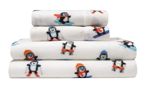 Elite Home Ultra-Soft Winter Nights Collection Microfleece Sheet Set, Alpine Penguin Red, Full