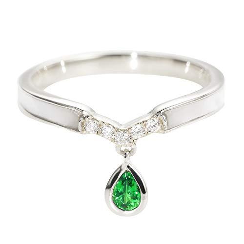 Daesar 18ct Gold Rings for Women Ring Wedding 0.15ct Green Tsavorite Water Drop V Form Pear Shape Diamond Ring Ladies Wedding Bands White Gold Ring Size 7