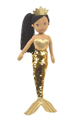 Linzy Kristal Mermaid with Reversible Sequin Tail, Soft Plush Mermaid Doll, Gold, 18'