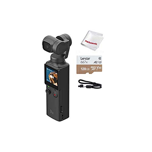 FIMI Palm XIAOMI 3 Axis Gimbal Stabilizer with 4K Smart Camera, 128° Ultra Wide Angle Lens, 120g, Wi-Fi & Bluetooth Connection, Built-in Microphone and External MIC Supported, W 128G Micro SD Card