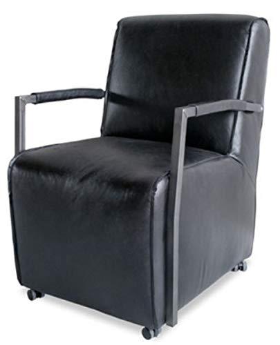Casa Padrino sillón de búfalo de salón Ruedas Negro/Plata 59 x 69 x H. 93 cm - Muebles de Cuero Genuino