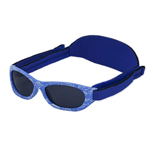 Kiddus Baby-sonnenbrille für JUNGEN UND MÄDCHEN im Alter von 0 Monaten bis 2 Jahren, 100% UV-Schutz, SUPER KOMFORTABEL mit verstellbarem WEICHEN Riemen. Das ideale babys Geschenk (25 Fische blau)