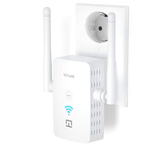 Victure Répéteur WiFi, Amplificateur Wifi, WiFi Booster, AP, 2,4 GHz, 300 Mbps, avec port Ethernet et interface d'alimentation, WPS, facile à installation, Compatible avec tous les routeurs