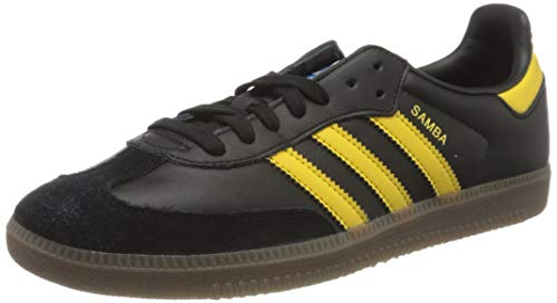 adidas Mens Samba OG Sneaker, Core Black/Eqt Yellow/Bluebird, 45 1/3 EU