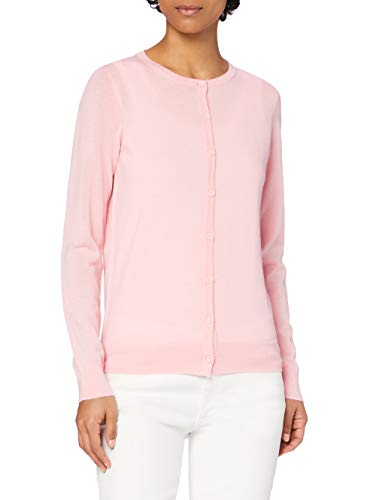 Marchio Amazon - MERAKI Cardigan Lana Merino Donna Girocollo, Rosa (Pale Pink), 40, Label: XS