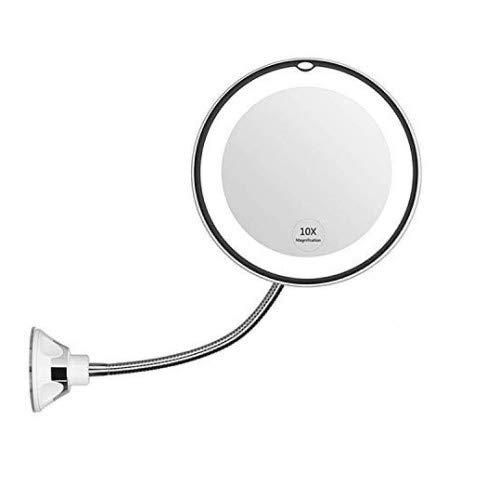 Migaven Espejo de Maquillaje Ampliación, 10x 360 Grados de Espejo de Maquillaje LED con Luz Flexible con Ventosa para el Baño del Dormitorio Tocador Sala de Maquillaje