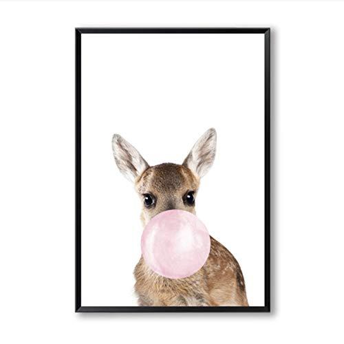 Burbuja de goma de mascar jirafa cebra carteles de animales lienzo pintura pared guardera imagen decorativa decoracin 8x12 pulgadas (20x30cm) x4Sin marco