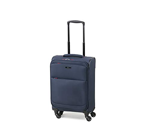 Rock Ever-lite 55cm Softside Flybe Compliant Cabin/Carry On Size Four Wheel Suitcase Navy