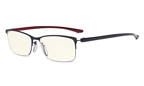 Eyekepper Computerbrille - Blaulichtfilter-Lesebrille - UV420-Schutzbrille mit Halbrand-Lesebrille Damen - Schwarzer Rahmen +1.75