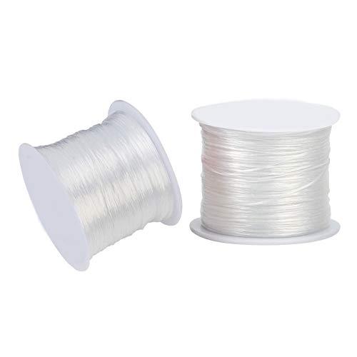 RENSHENKTO Cordón de cristal elástico de la cuerda del cordón de estiramiento de la cuerda de bricolaje para la pulsera 8 rollo