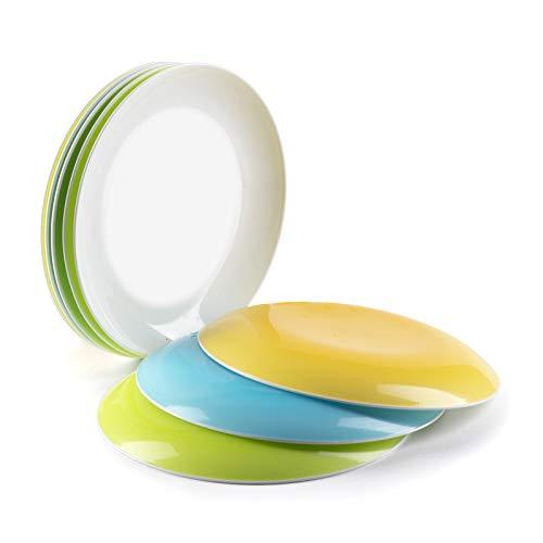 Dessertteller Plastik, kleine bunte Teller für Snacks, Geschirr zum Abendessen oder als Campinggeschirr - 8er Set