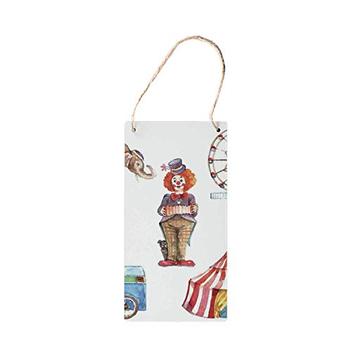 HNNT Circus Decor Decoratieve Hanging Houten Tekenen, Circus Elementen met Clown Olifant Ballonnen en Icecream Winkelwagen Waterkleur Illustrat houten bord 5x10 inches