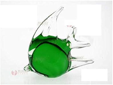 ARTE DEGLI ARGENTI 1 bombonera de pez con luna tropical verde, altura de 11 cm, de cristal de Murano, fabricada en Italia, para bodas, bautizos, confirmaciones, cód. 38022