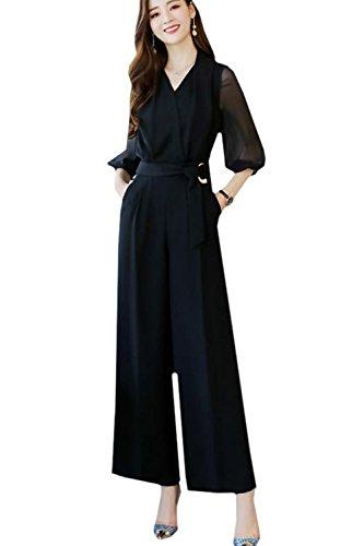(ナチュシー) NatuSe レディース パンツ ドレス セットアップ オールインワン フォーマル シースルー レース パーティ- 結婚式 (02 M)