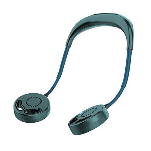 Hojas de Ventilador USB Recargable 2000mAh, Portátil Colgante Aficionado Deportes Auriculares Diseño Mini refrigerador Cuello de Cuello para Trav Travity (Color : Green)