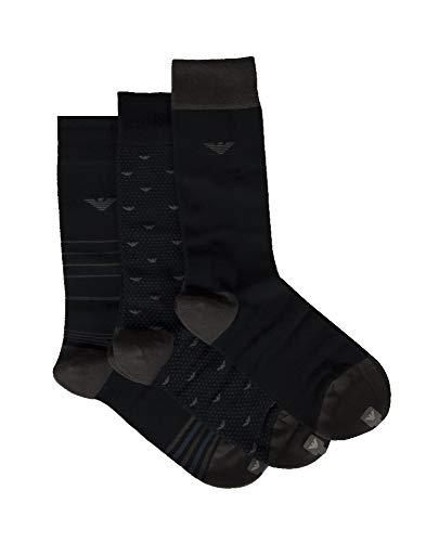 Emporio Armani Packung mit 3 Paar kurzen Socken sortiert Artikel 302402 0A282 Socken setzen Tripack kurz, 71635 Marine/Grigio - Marine/Grey, EU 39/46 - UK 5/12 - USA 6,5/13,5 - CN 28/30
