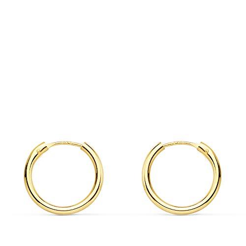Aros oro amarillo 18k Morgana 14mm - Pendientes de mujer/niña/joven