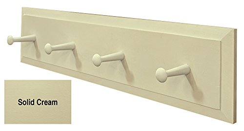 Sawdust City Pine Coat Rack with Pegs - 2 Long Solid Cream