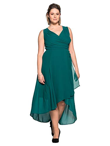 Sheego Damen Abendkleid in Trendiger Wickeloptik smaragd, 48