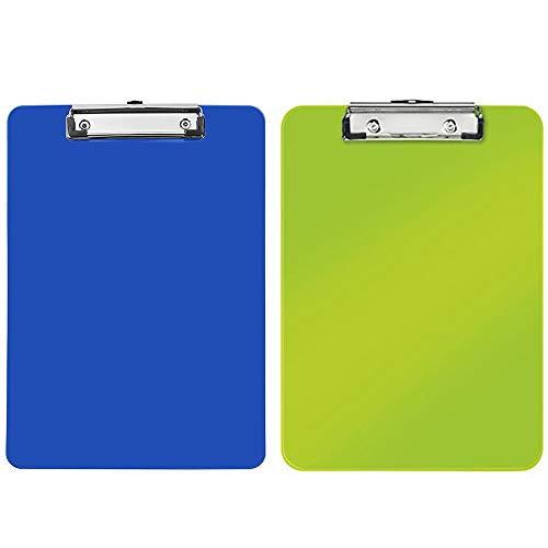 Amacoam Klembord A4 plastic Klembord map A4 schrijfblad met metalen klem klemborden terug met schaal Clipboard schrijfbord groen en blauw voor de dagelijkse werkzaamheden, 2 stuks