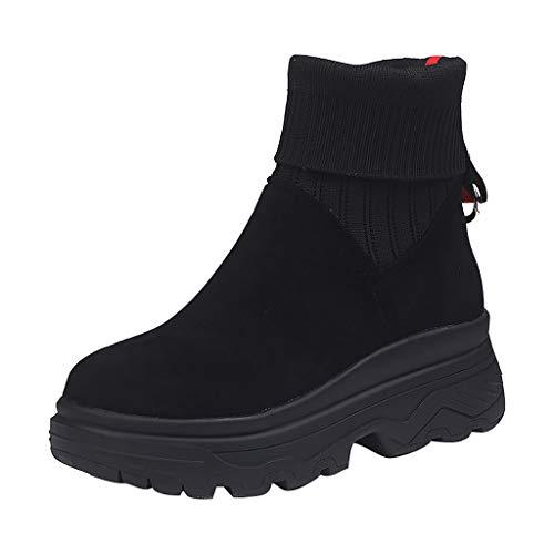 Kriosey Damen Stiefeletten Cowboy Boots rutschfest Flache Stiefel Western Warm Gestrickt Socken...