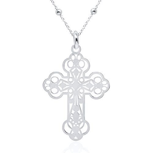 Wanda Zilveren halsketting voor dames, meisjes jongens 925 sterling zilver hanger kruis met 45 cm ketting, crucifix in geschenkdoos