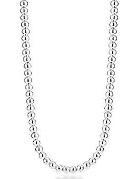 MiaBella 925 Sterling Silver Italian Handmade 4mm Bead Ball Strand Chain Necklace for Women 16 18 20 Inch Made in Italy  18 Inches