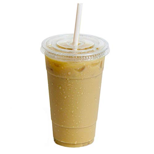 [100 Pack] 24 oz BPA Free Clear Plastic Cups With Flat Slotted Lids for Iced Cold Drinks Coffee Tea Smoothie Bubble Boba, Disposable, Extra Large Size