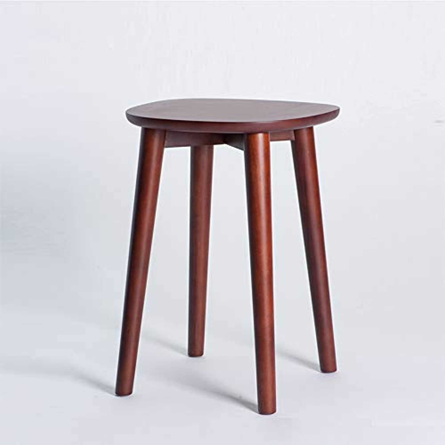 Nordic Thailand Rubber Solid Wood Stool Restaurant Stool Dining Chair Round Stool Home Hotel Restaurant Furniture (color   Walnut color)