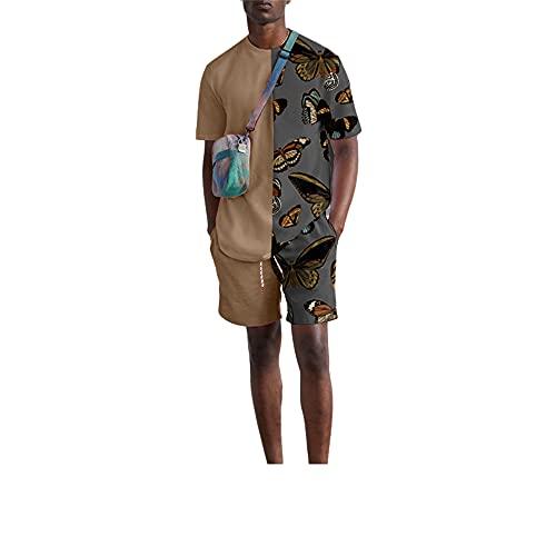 Camisa Correr Conjunto Hombre Verano Casual Deporte Al Aire Libre Urbano Moderno Camiseta Hombre Estampado Moda Pantalones Cortos Y De Manga Corta para Hombre Conjunto De 2 Piezas K-Khaki2 XL