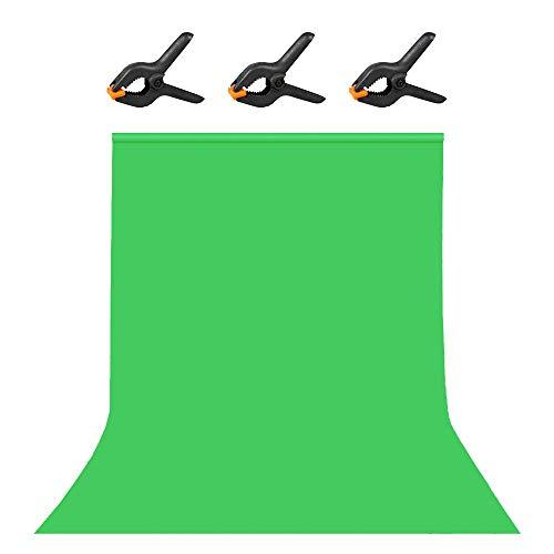 Hemmotop 背景布 暗幕 緑 グリーンバック クロマキー 1.8x2.8m 強力クリップ3点付 撮影用 背景シート 厚地 不透明 プロ スタジオ背景 スクリーンシート 写真 ビデオとテレビに対応 ポリエステル 180*280cm