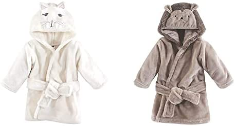 Hudson Baby Girl Plush Animal Face Bathrobe 2-Pack, Kitty Hedgehog