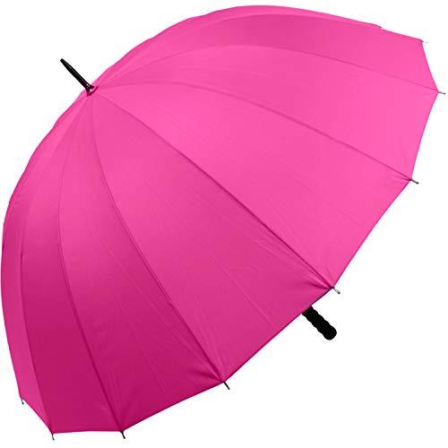 iX-brella - Leichter XXL Partnerschirm 16-teilig mit angenehmen Softgriff - Durchmesser 1,29 Meter (pink)