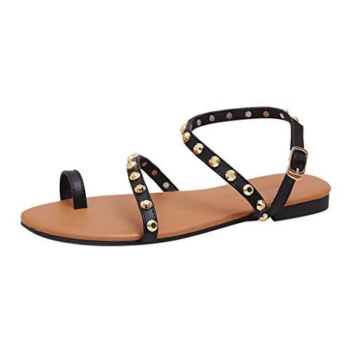 FRAUIT Sandali Estivi Donna Bassi Borchie Sandalo Donna Bassi Eleganti In Pelle Sandals Da Spiaggia Mare Piscina Scarpe Elegante Estive